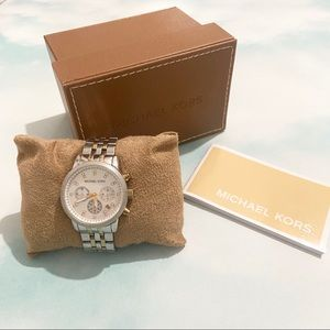 MICHAEL KORS Silver and Gold Watch in Box
